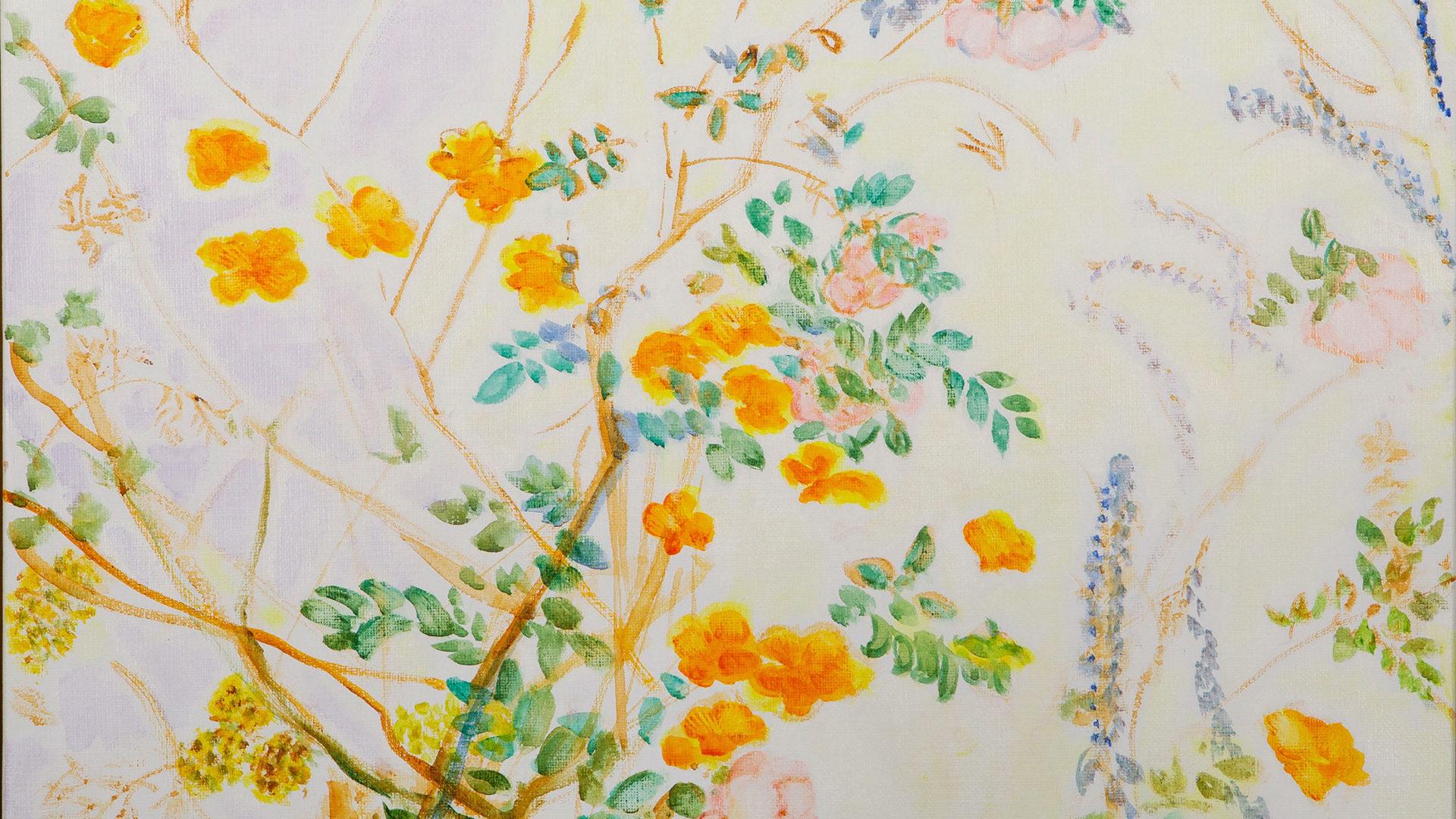 Ölgemälde hellorange Blüten - Zweige auf luftig hellem Hintergrund